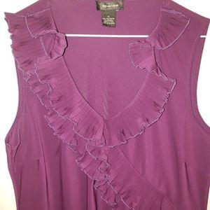 Spense XL purple ruffle chest blouse
